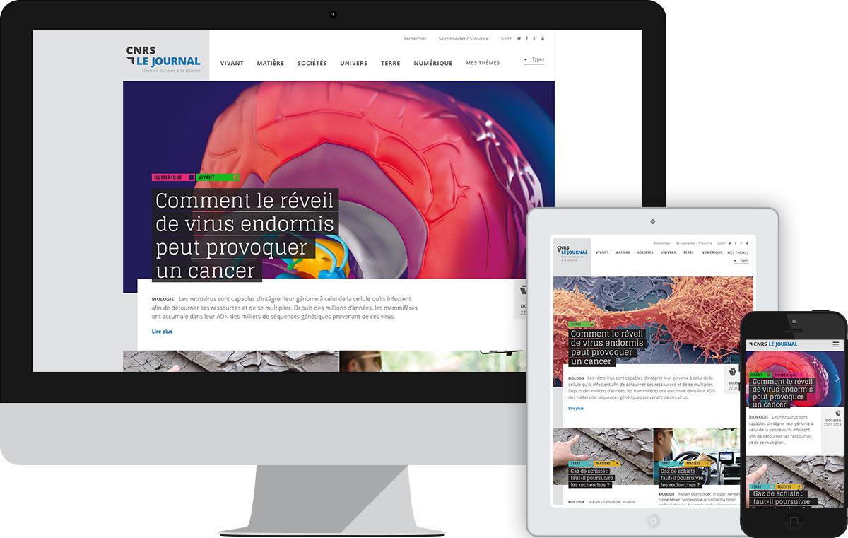 Responsive design Accueil CNRS le journal