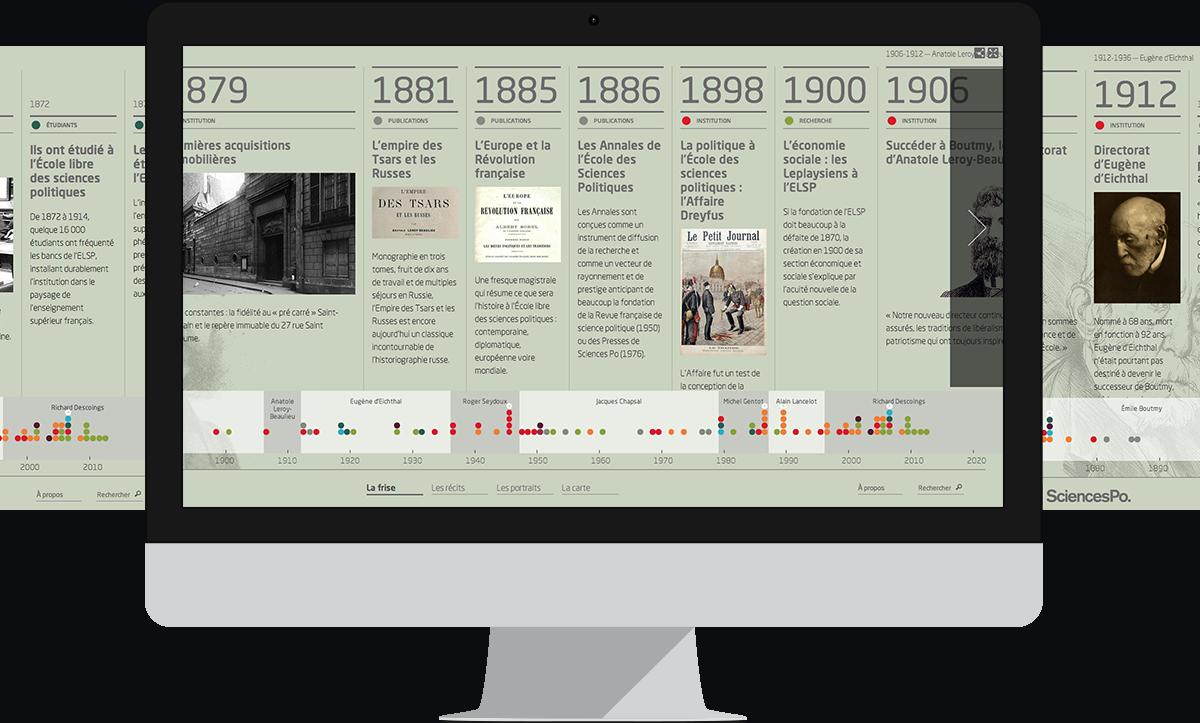 Sciences Po frise présentée dans un desktop